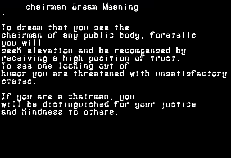 dream meanings chairman
