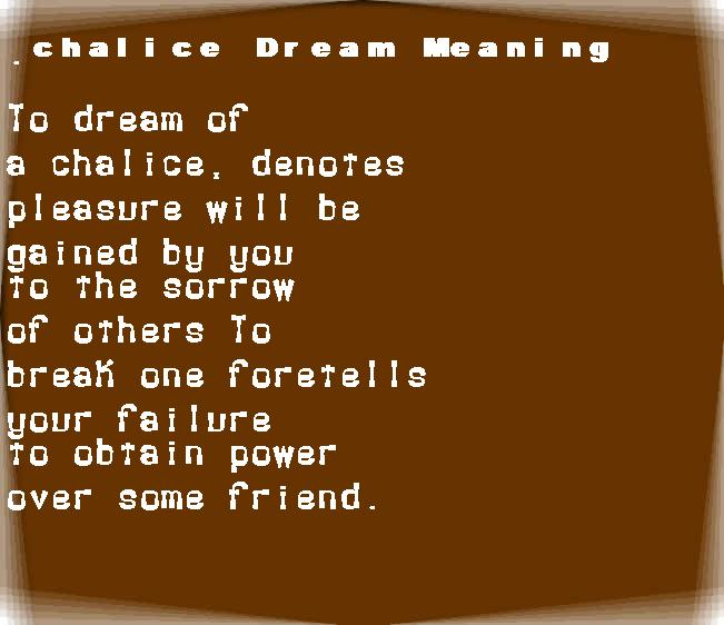 dream meanings chalice