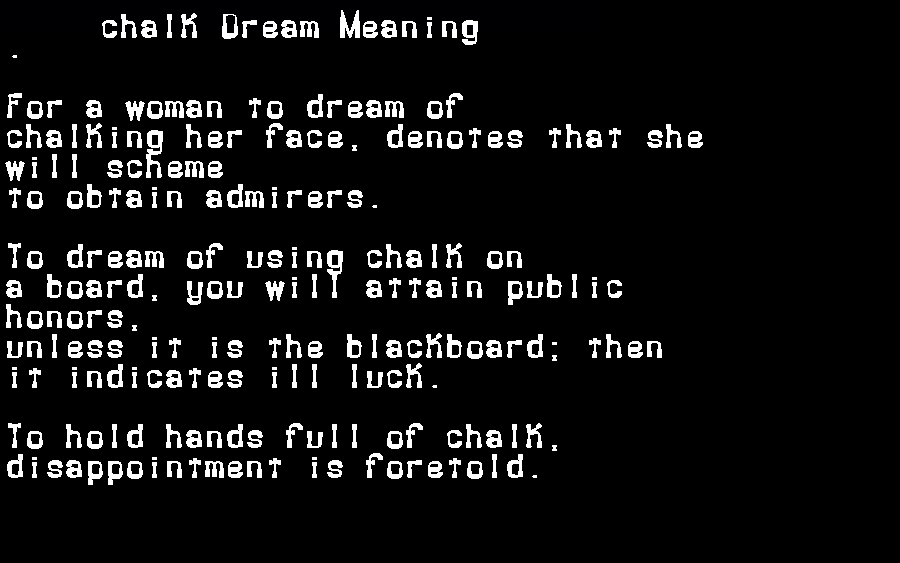 dream meanings chalk