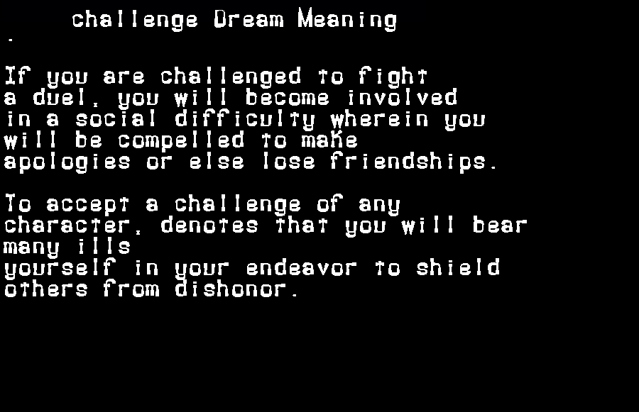 dream meanings challenge