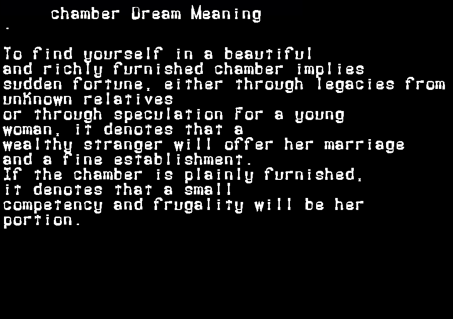 dream meanings chamber
