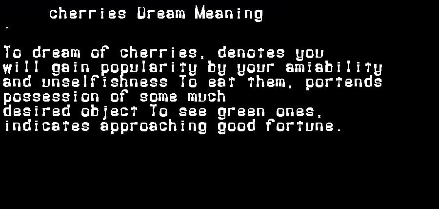 dream meanings cherries