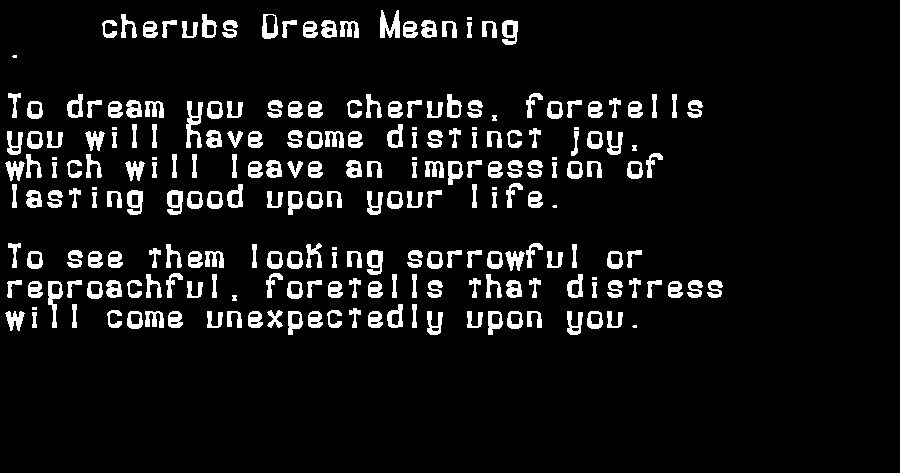 dream meanings cherubs