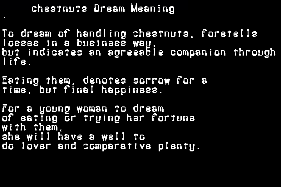 dream meanings chestnuts