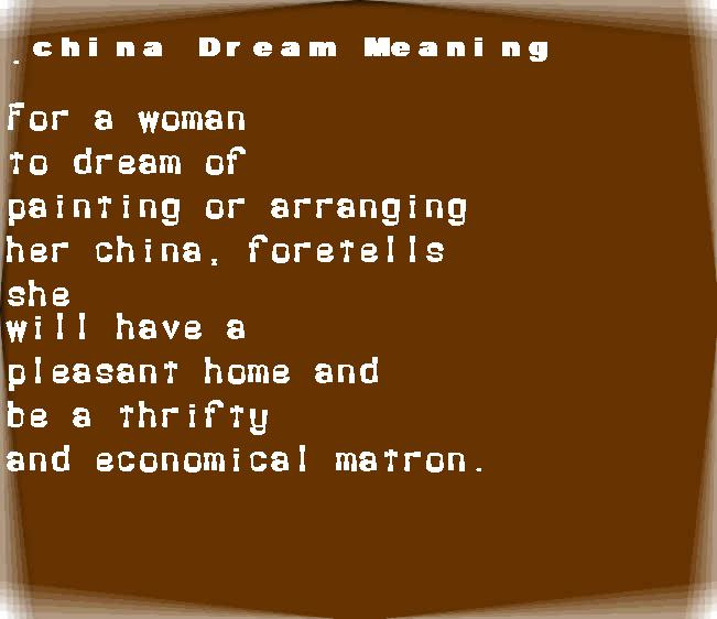 dream meanings china
