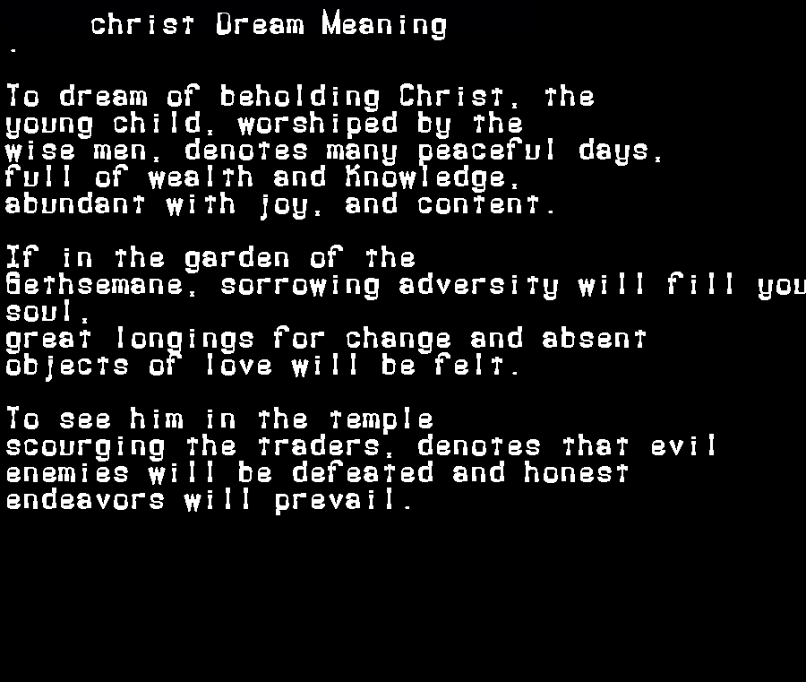 dream meanings christ