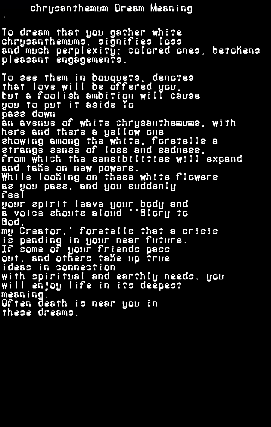 dream meanings chrysanthemum