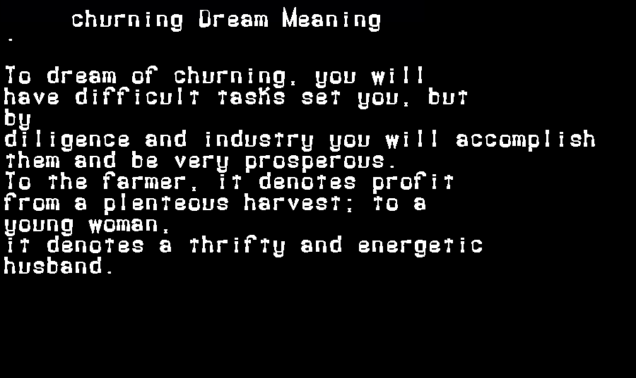 dream meanings churning
