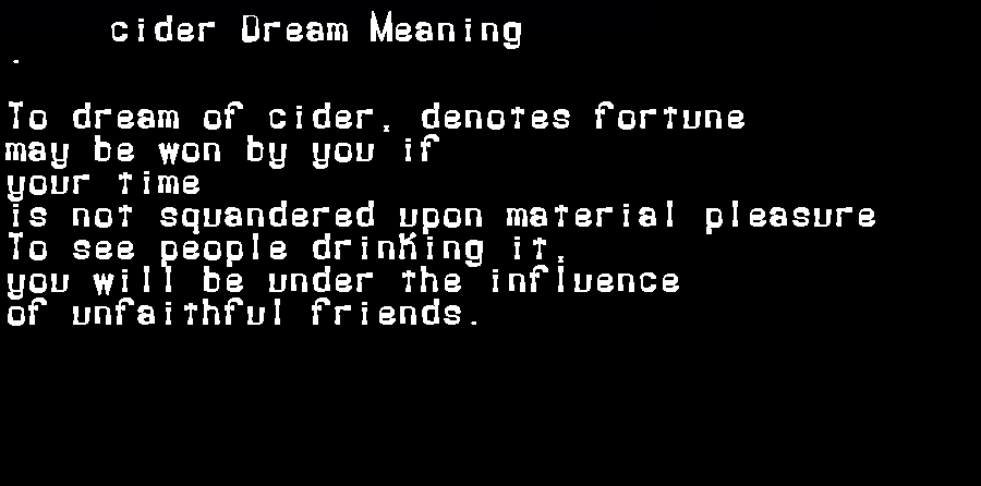 dream meanings cider