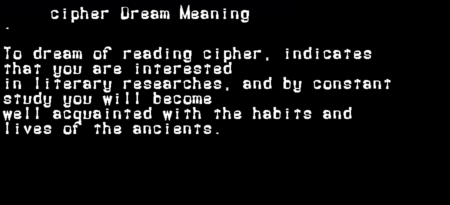 dream meanings cipher