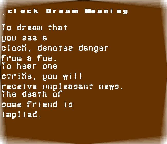 dream meanings clock