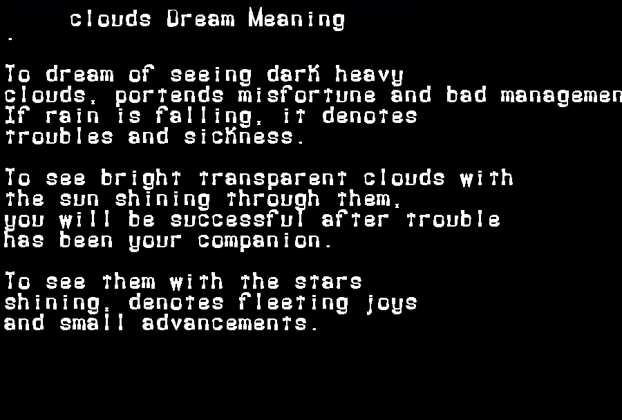 dream meanings clouds