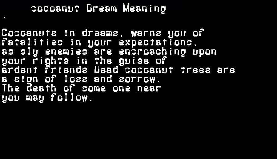 dream meanings cocoanut