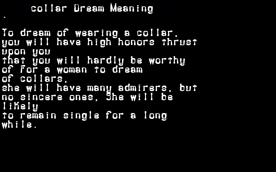 dream meanings collar