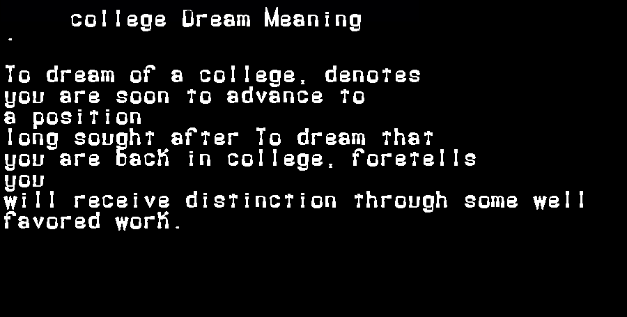 dream meanings college