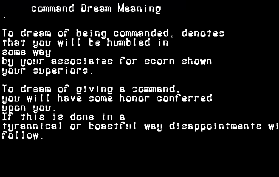 dream meanings command