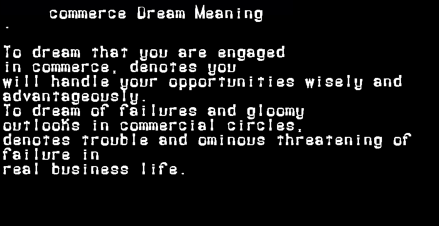 dream meanings commerce