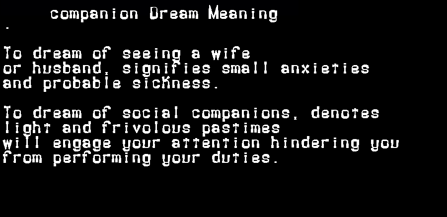 dream meanings companion