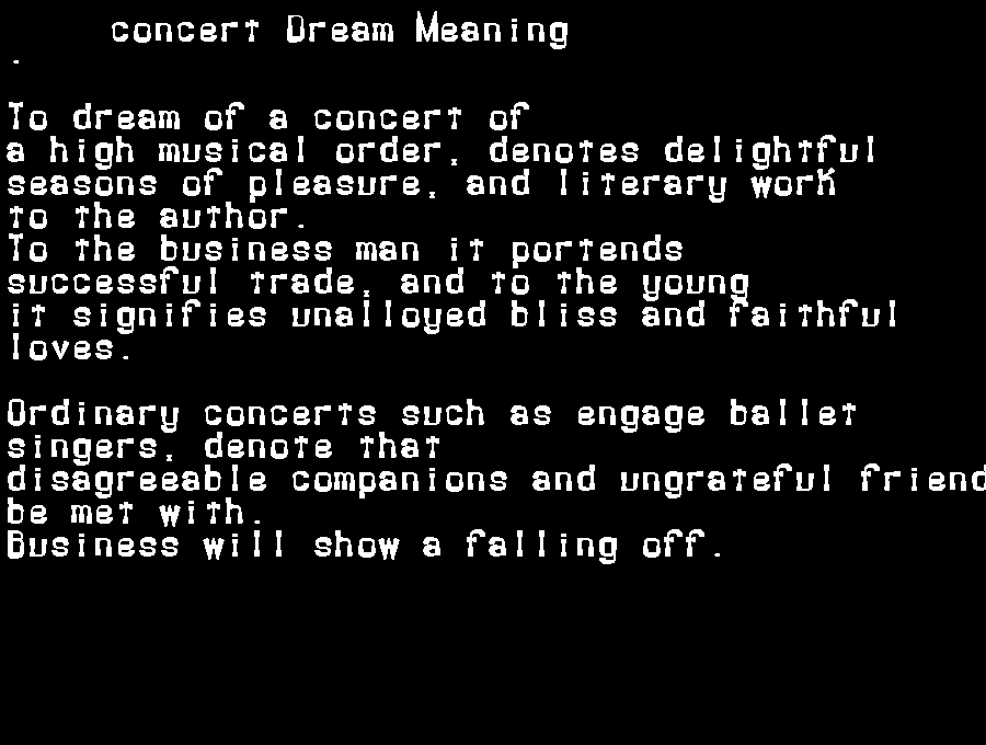 dream meanings concert