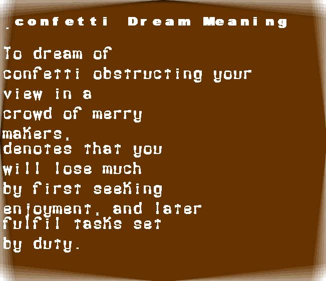 dream meanings confetti
