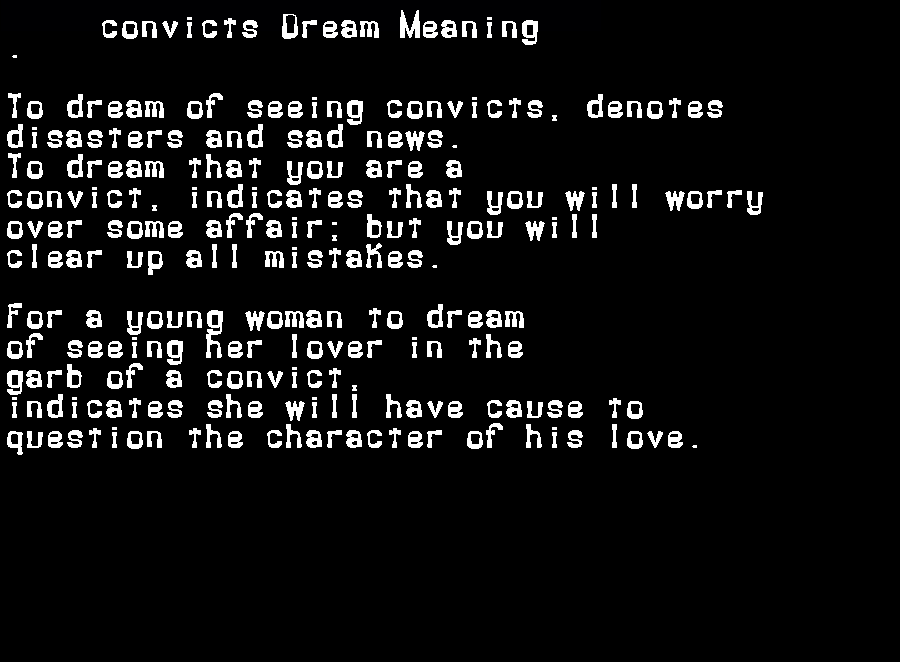 dream meanings convicts