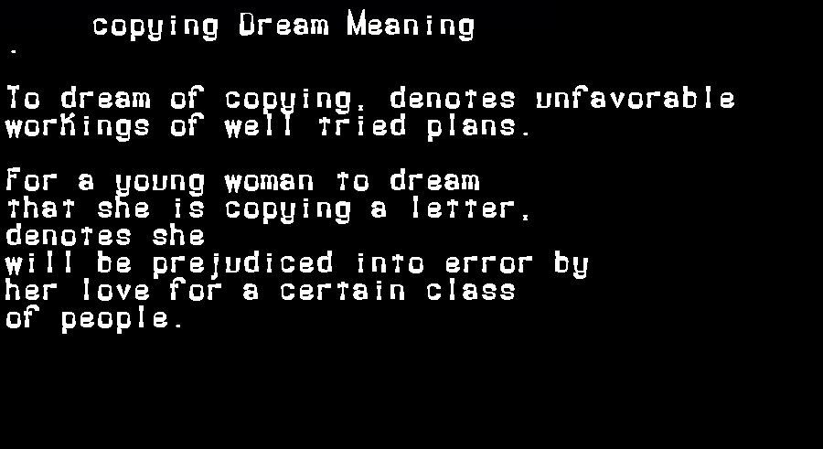 dream meanings copying