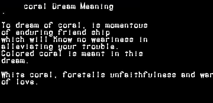 dream meanings coral