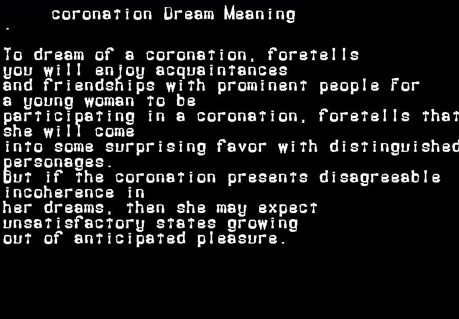 dream meanings coronation