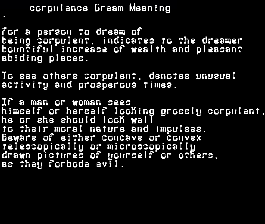 dream meanings corpulence