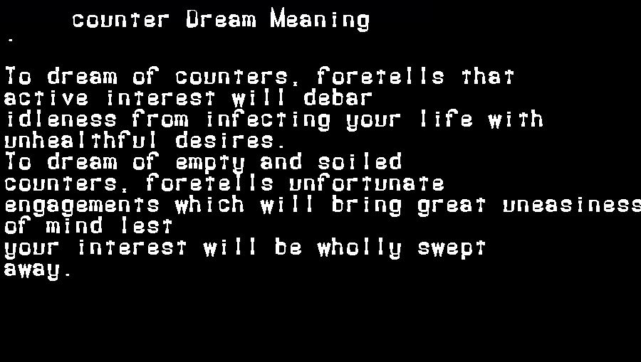 dream meanings counter