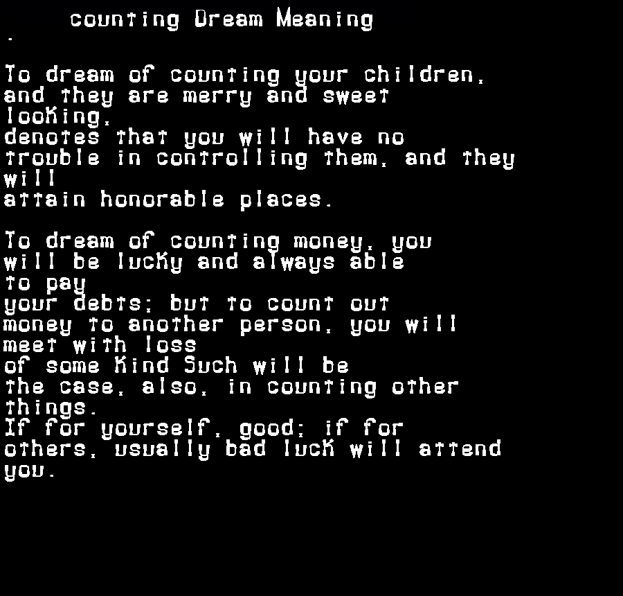 dream meanings counting
