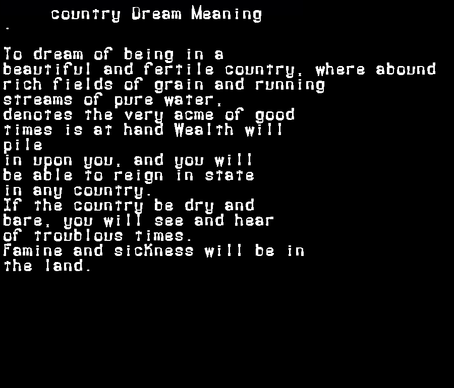 dream meanings country