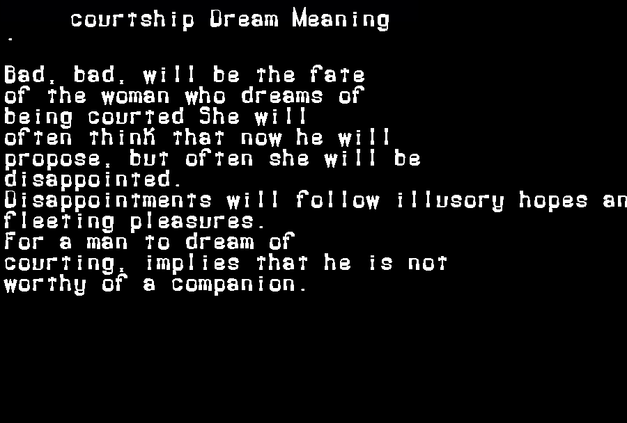 dream meanings courtship