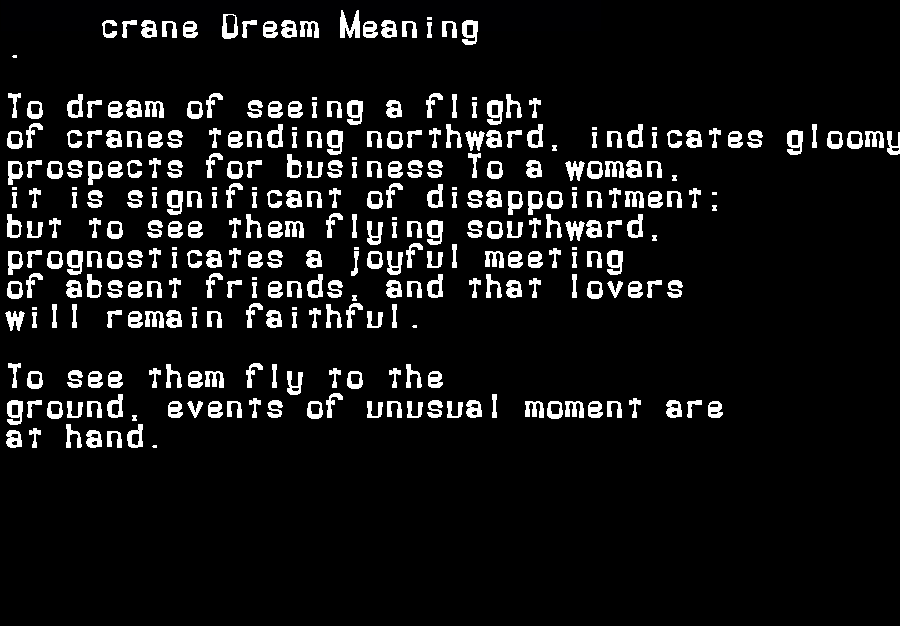 dream meanings crane
