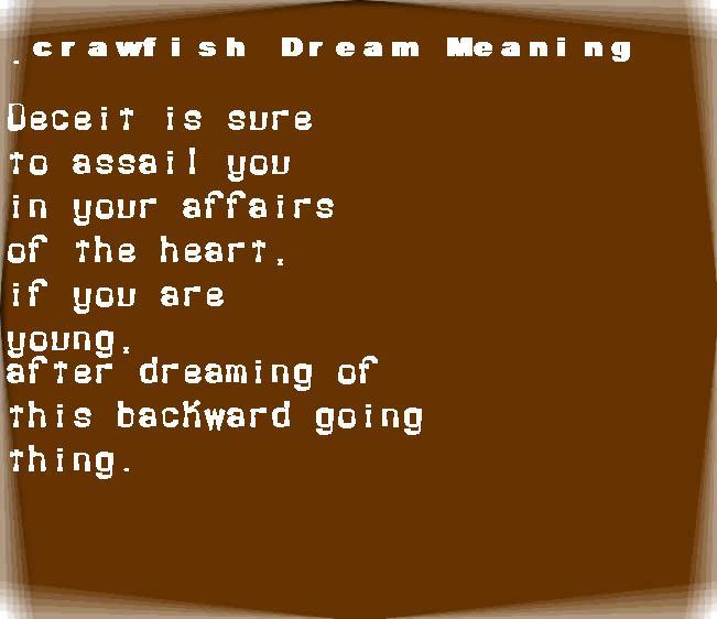dream meanings crawfish