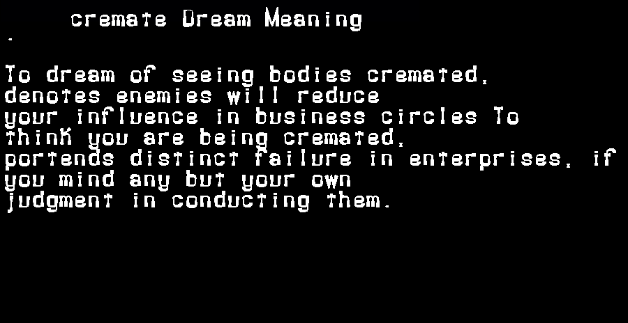 dream meanings cremate