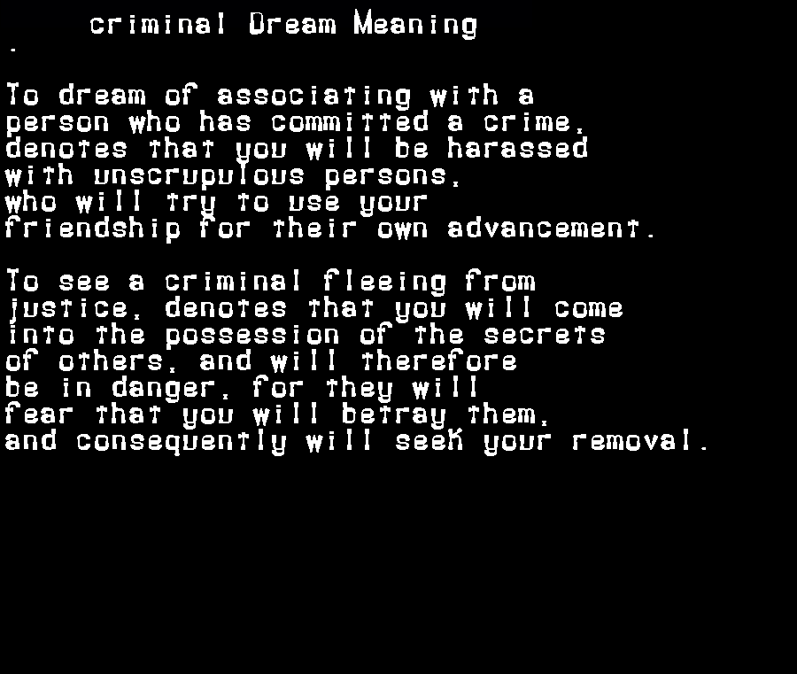 dream meanings criminal