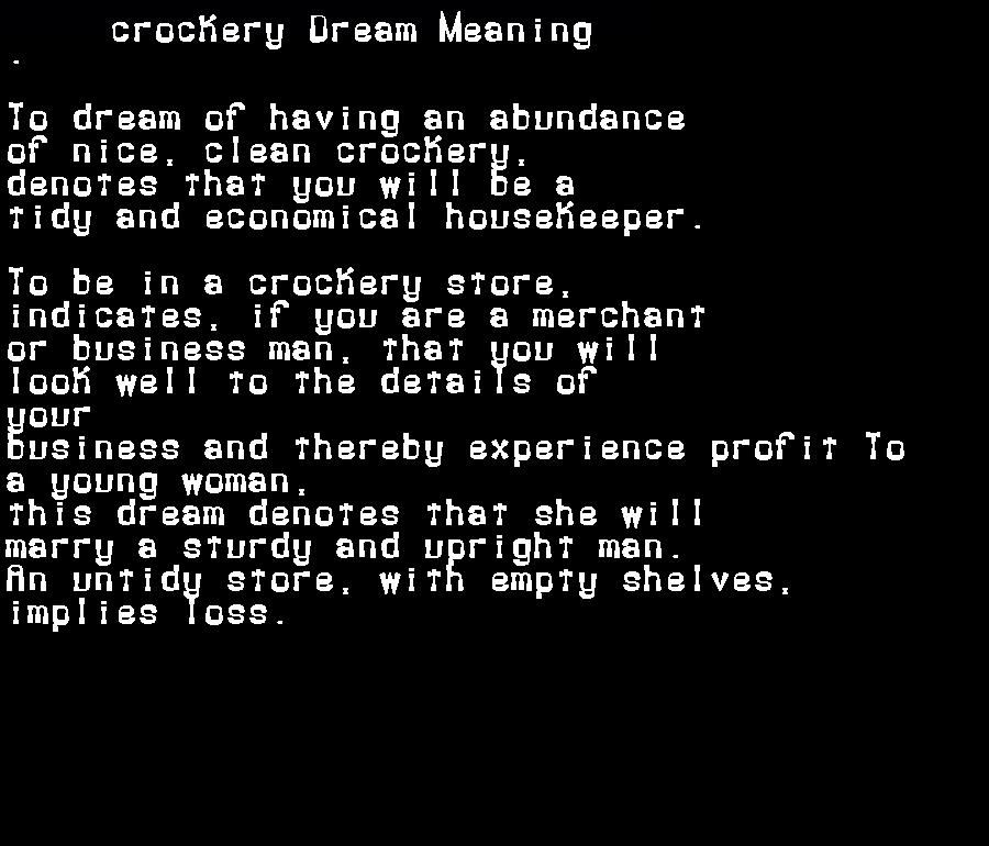 dream meanings crockery