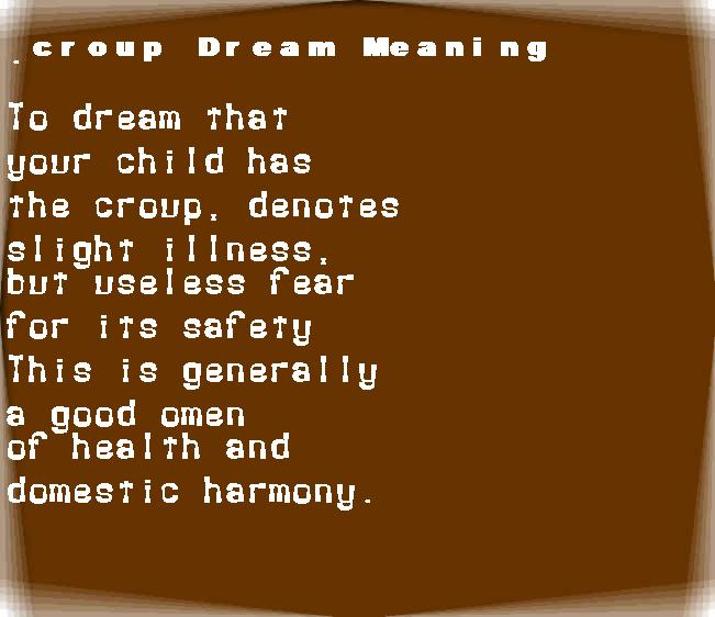 dream meanings croup