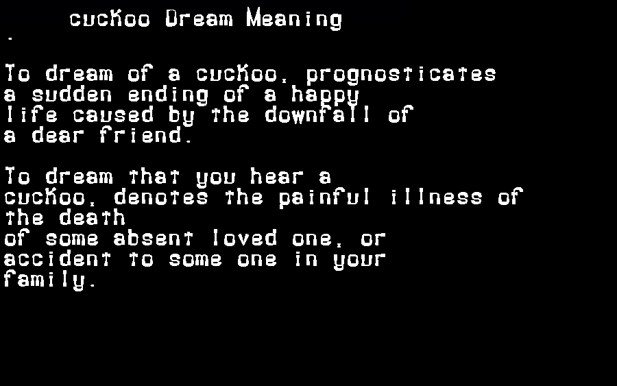 dream meanings cuckoo