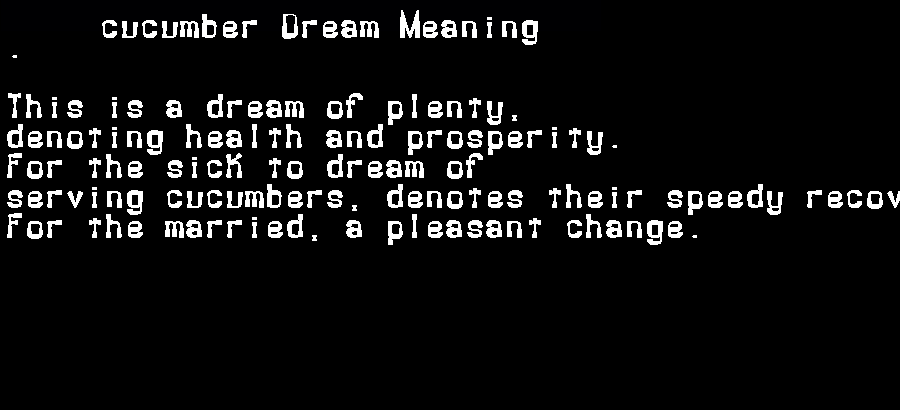 dream meanings cucumber