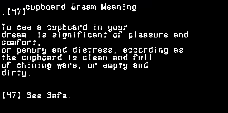 dream meanings cupboard