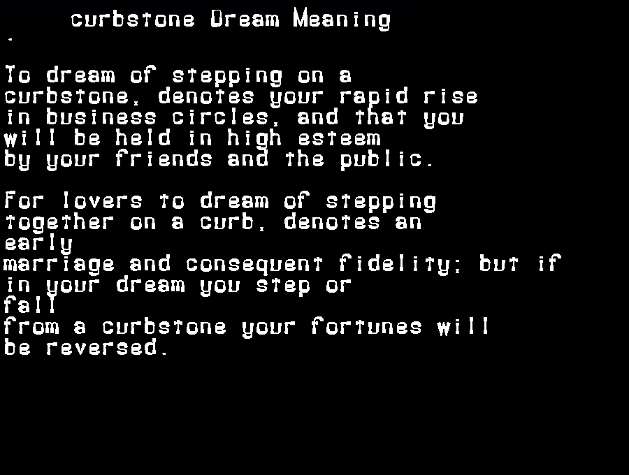 dream meanings curbstone