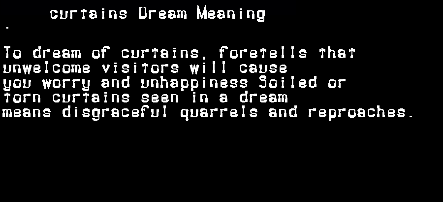 dream meanings curtains