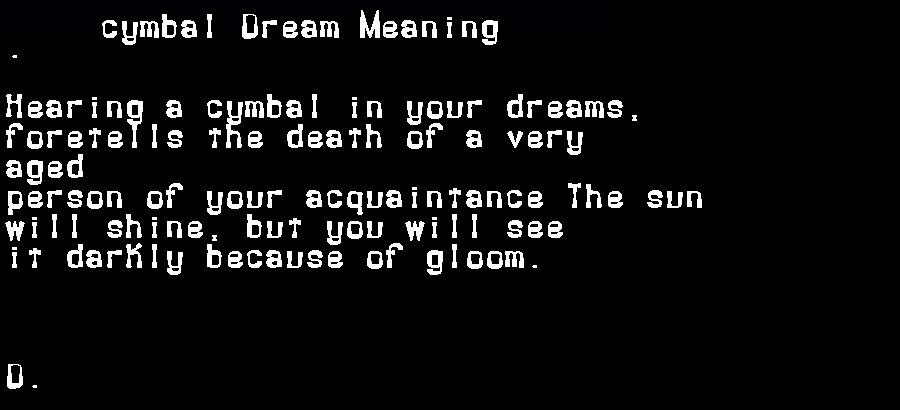 dream meanings cymbal