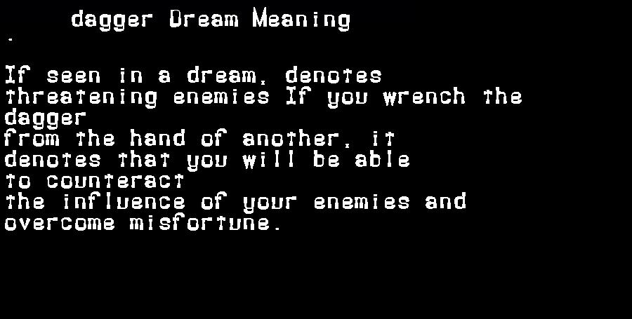 dream meanings dagger