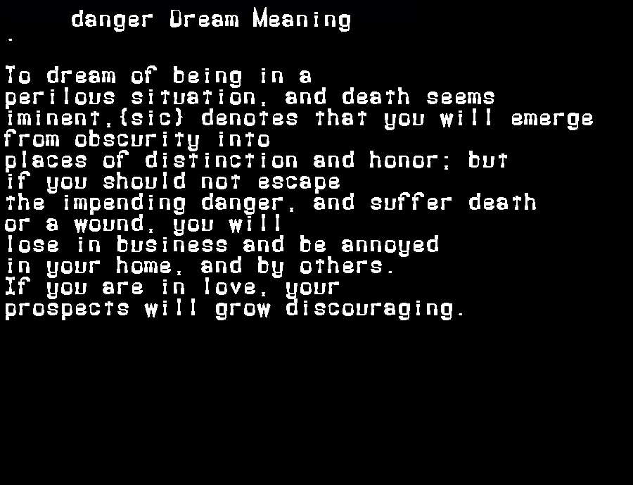 dream meanings danger