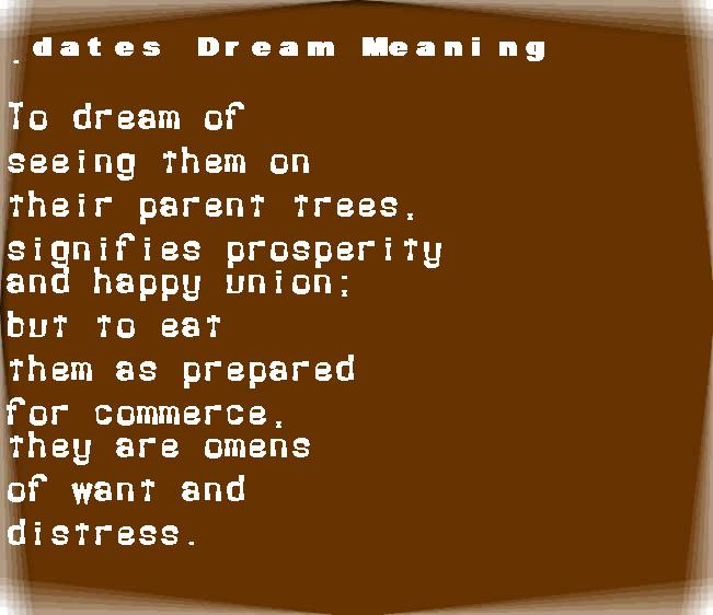dream meanings dates
