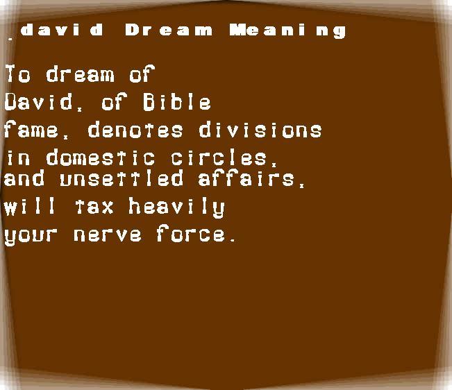dream meanings david