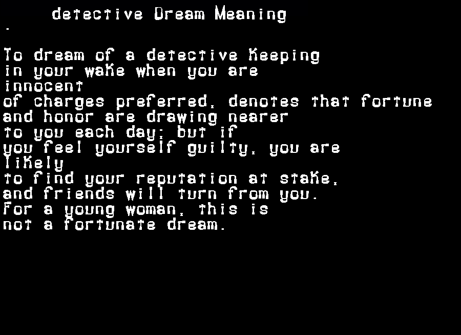 dream meanings detective